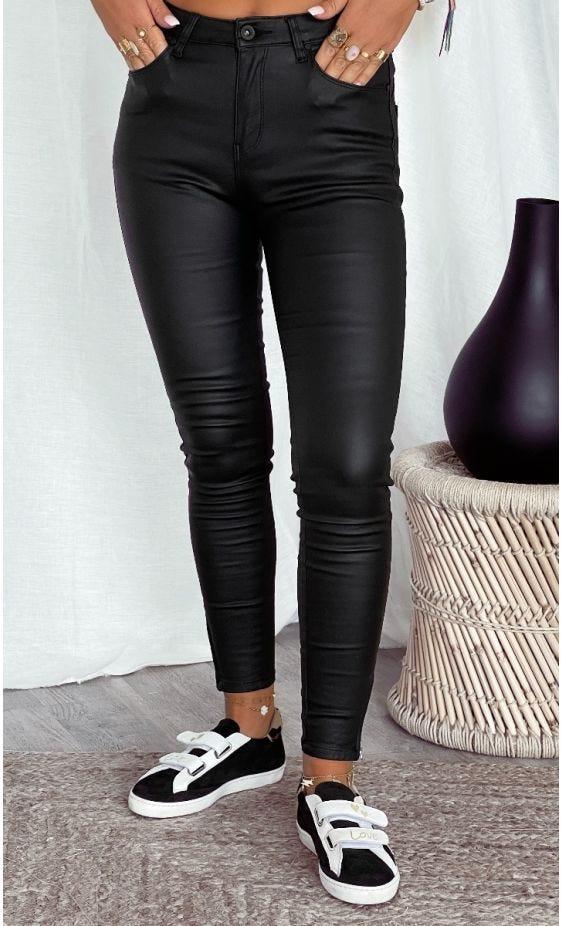 Pantalon Slim Tomas Push Up Huilé Noir