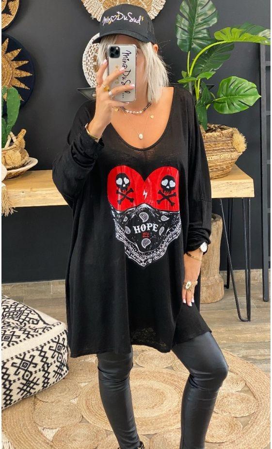 T-Shirt Gabin ML Oversize Lin Noir Biker Rouge