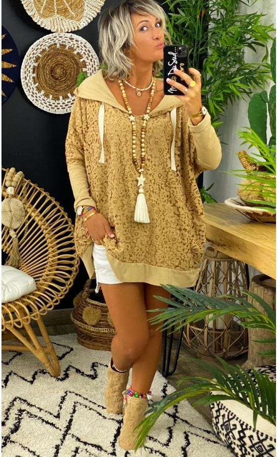 Sweat Fin Camille Oversize Dentelle Camel