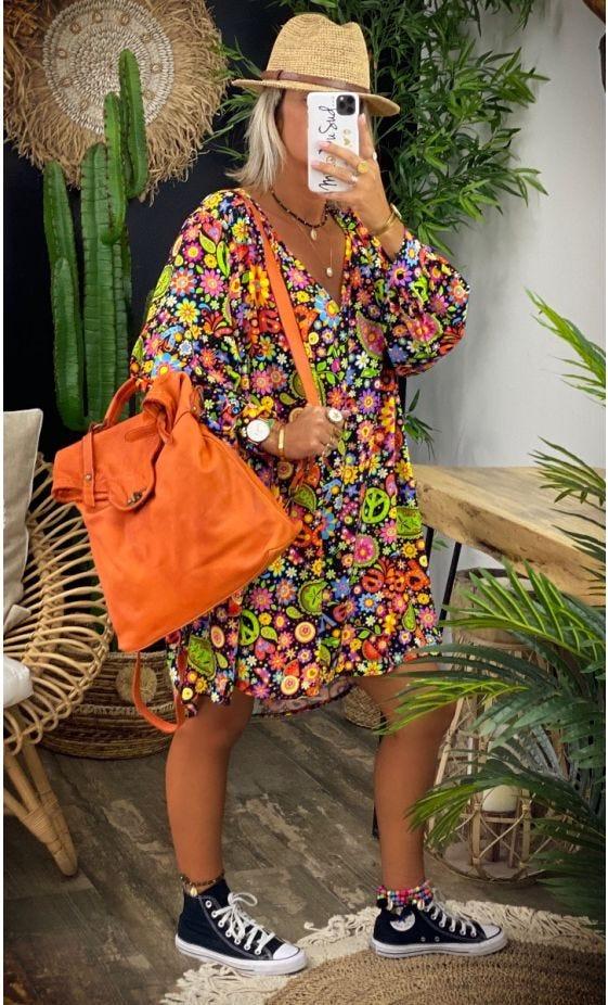 Petite Robe Nina Noir Peace Multicolor