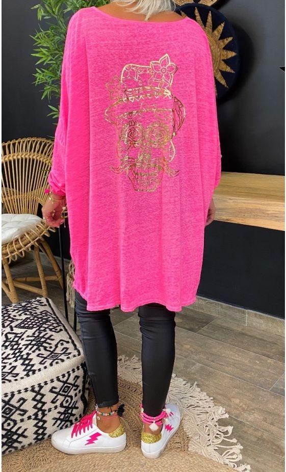 T-Shirt Gabin Oversize Lin Rose Fluo Crazy Skull