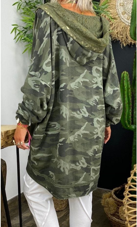 Veste Sirine Sweat Fin Oversize Kaki Camouflage