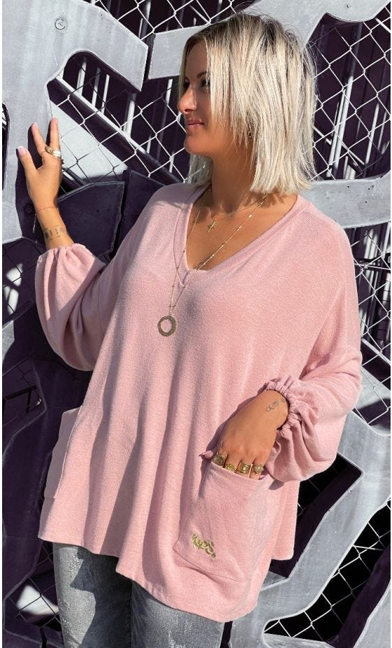 Pull Anthony Maille Doudou Rose Clair