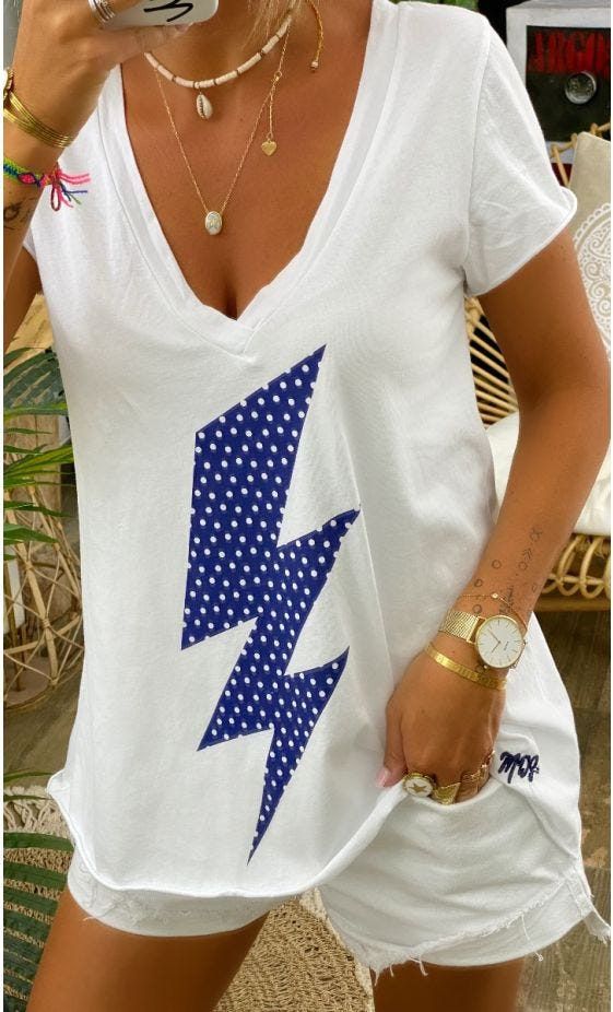 T-Shirt Elio MC Blanc Flash Bleu Marine Pois Blanc