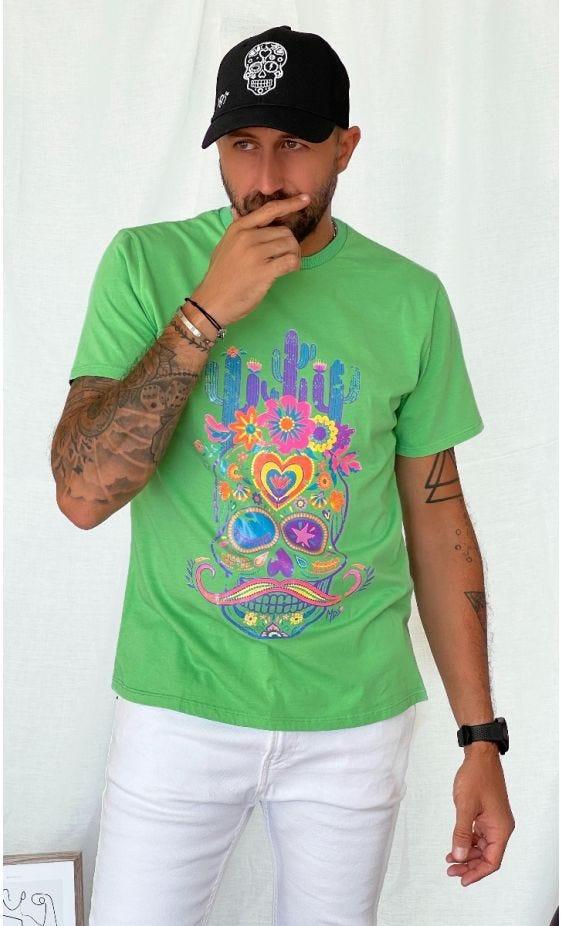 T-Shirt Mayron Vert Brésil Cactus Skull