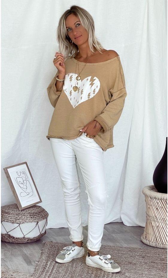 Sweat Carl Camel Heart Flashes Blanc