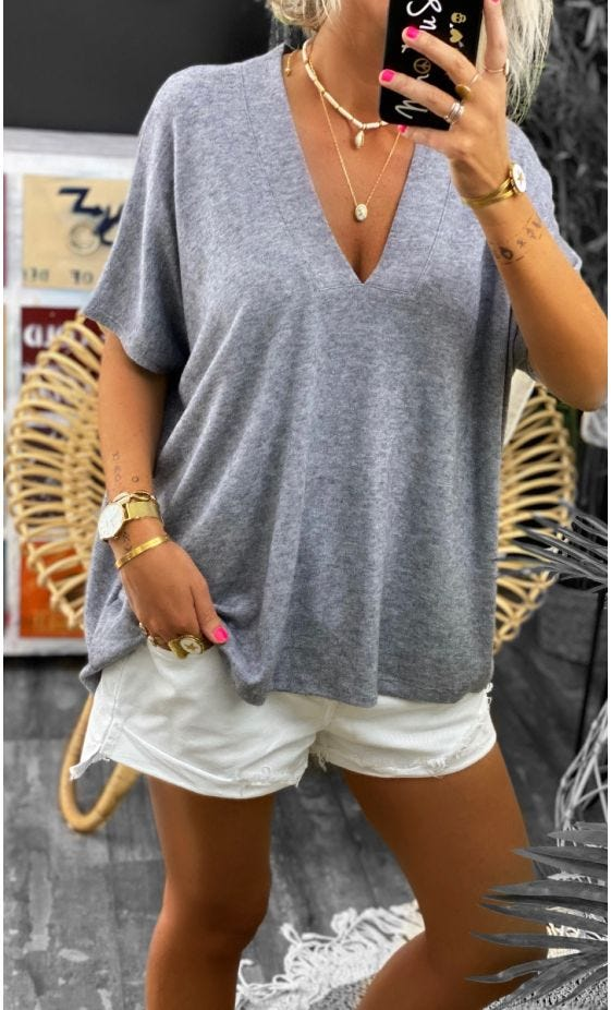 T-Shirt Paolo MC Oversize Maille Doudou Gris