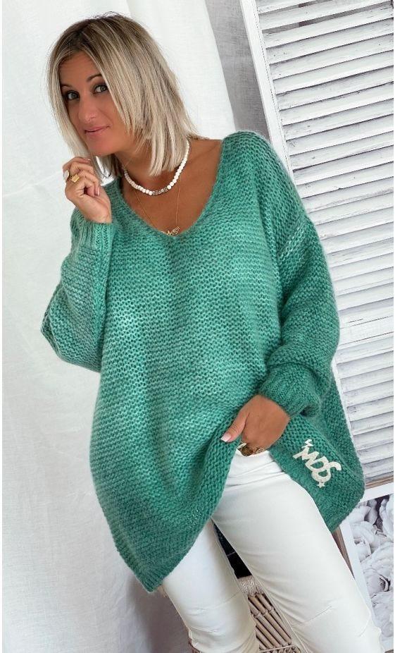 Pull Adrian Oversize Vert Turquoise