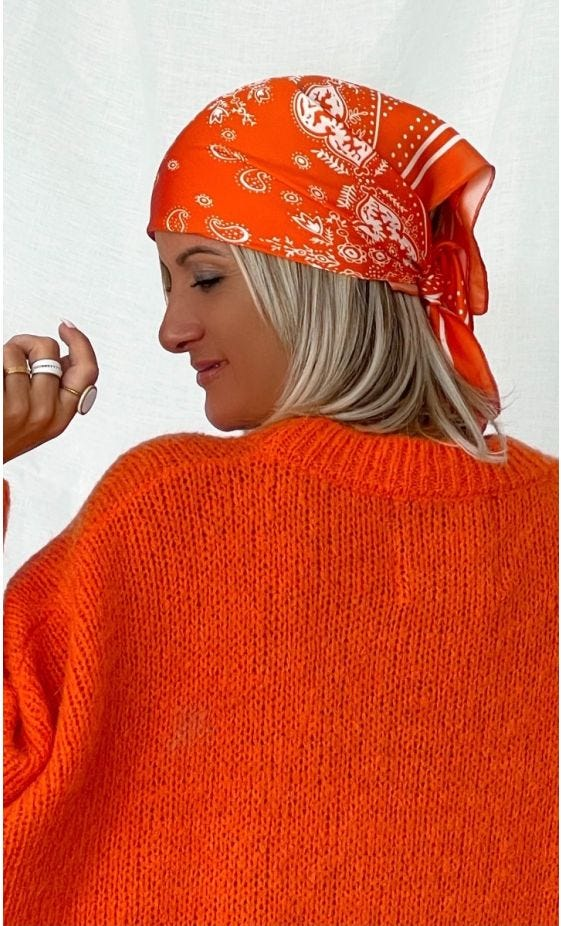 Foulard Théana Satin Bandana Orange