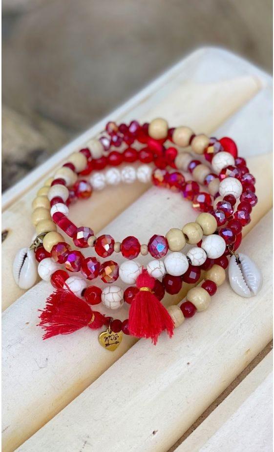 Bracelet De Cheville Magik Twinkle Wood Rouge