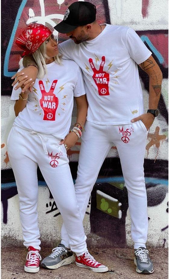 T-Shirt Mayron Blanc Not War Rouge
