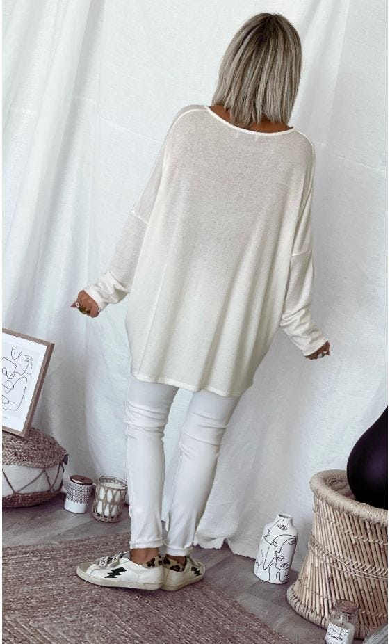 T-Shirt Gabin ML Oversize Maille Doudou Blanc Cassé
