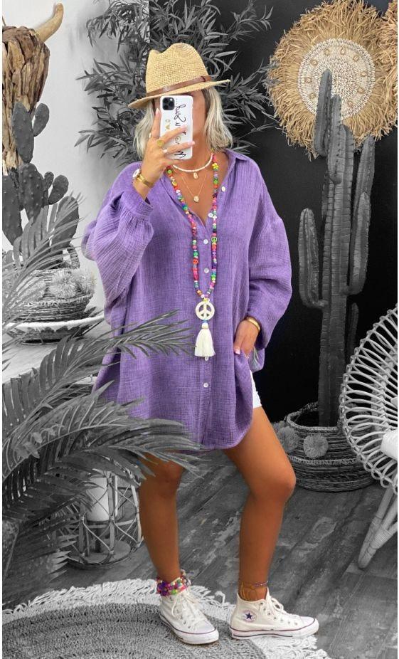 Chemise Yahel Voile De Coton Violet