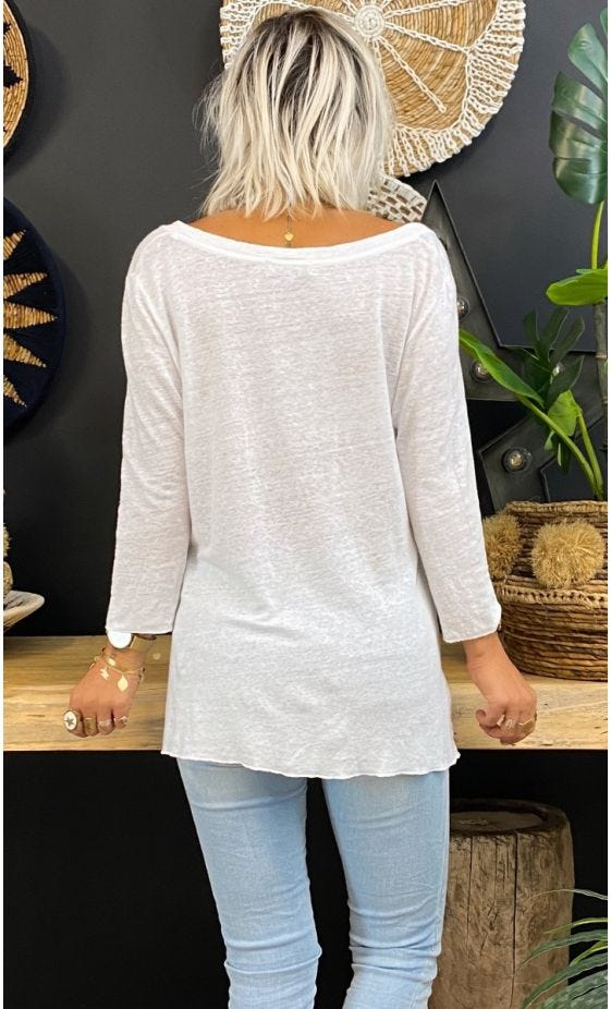 T-Shirt Elio ML Lin Blanc Bla Bla Or