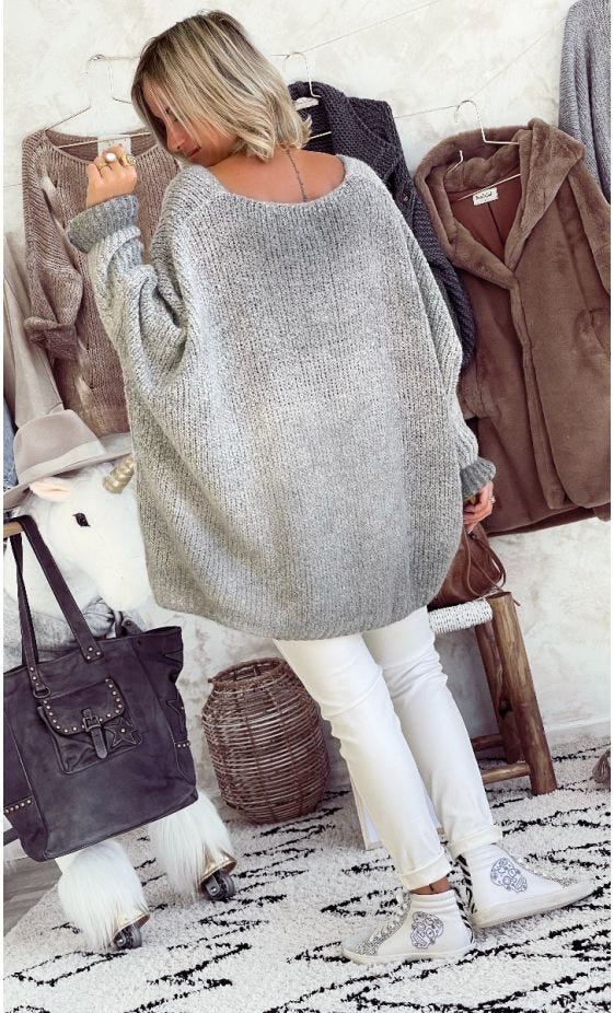 Pull Zack Oversize Gris Clair Star Flash