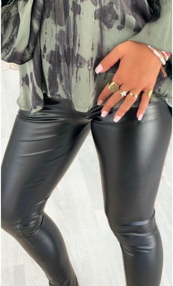 Legging Johan Simili Cuir Brillant Noir