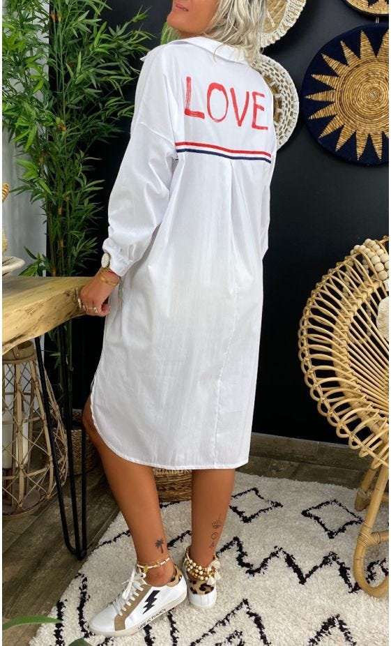 Petite Robe Chemise Milly Blanc Love Rouge