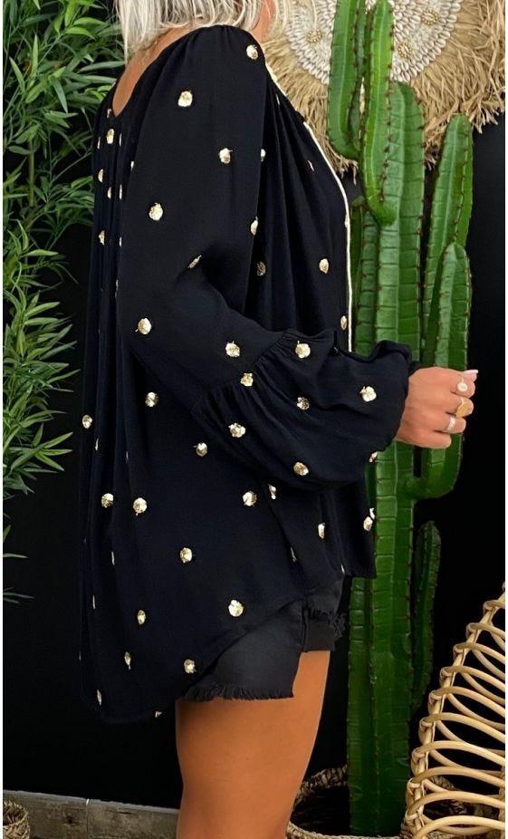 Tunique Lana Noir Pois Sequin Or