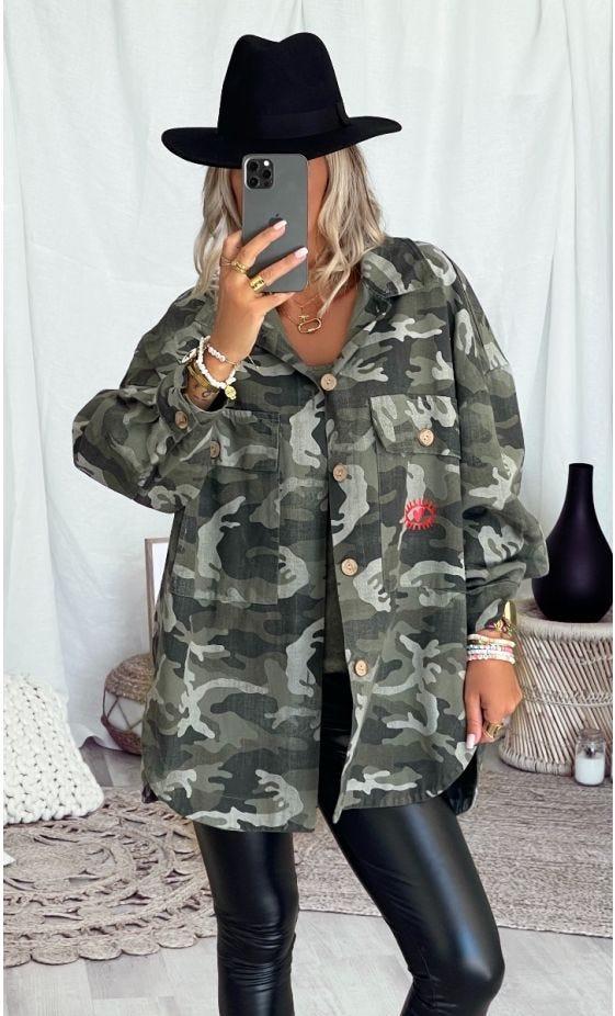 Surchemise Elvie Oversize Kaki Camouflage 1629 MDS Rouge