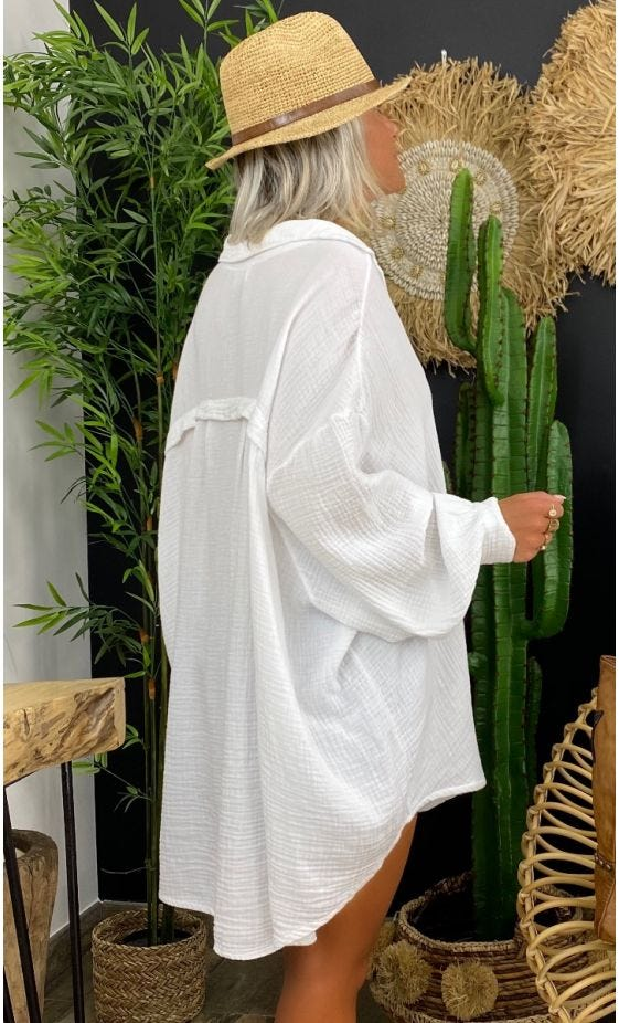 Chemise Yahel Voile De Coton Blanc