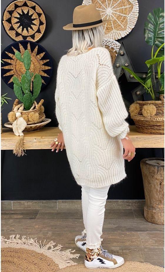 Petite Robe Pull Mérédith Blanc Cassé