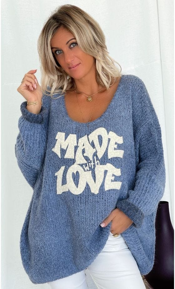 Pull Zack Oversize Bleu Made With Love