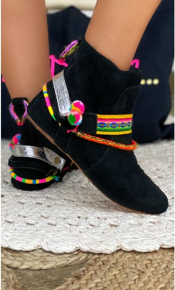 Boots Alaya Noir Pompons Multicolor