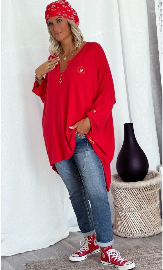 Tunique Betty Oversize Maille Doudou Rouge Little Eye Or