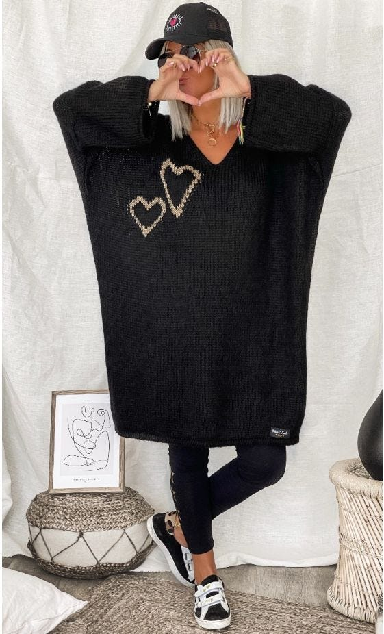 Petite Robe Pull Mady Oversize Noir Hearts Or