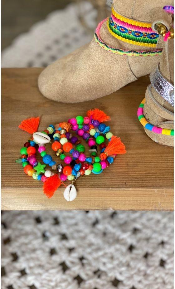 Bracelet De Cheville Magik Candy Skull Pompon Orange Fluo