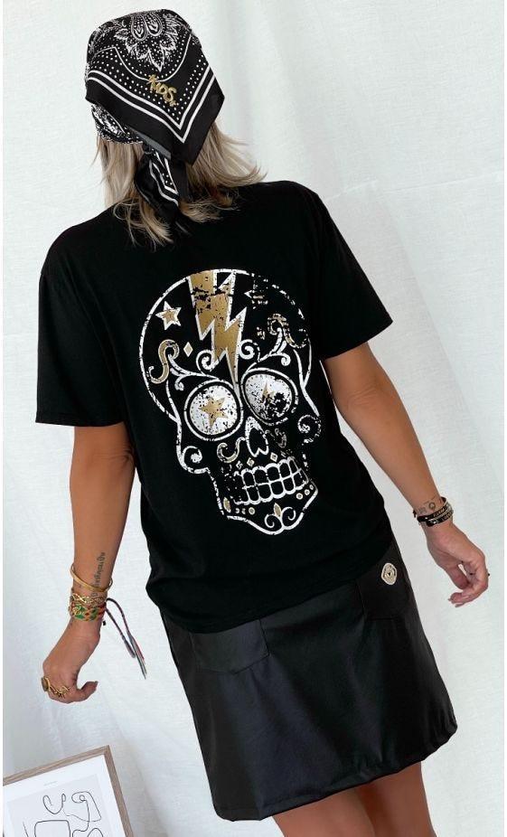 T-Shirt Mayron Noir Flash Skull Or
