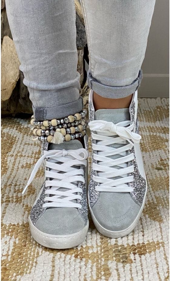 Baskets Lucy Glitter Argent & Gris Funny Skull