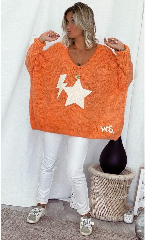 Pull Zack Oversize Orange Star Flash