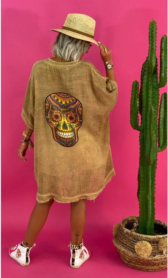 Tunique Aglae Oversize Voile De Coton Camel Multicolor Skull