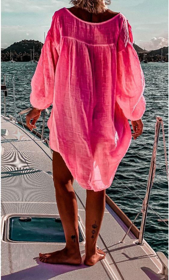 Tunique Malou Voile De Coton Rose Fluo