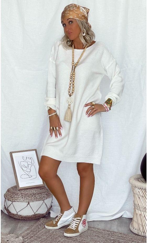 Petite Robe Pull Anis Blanc Cassé