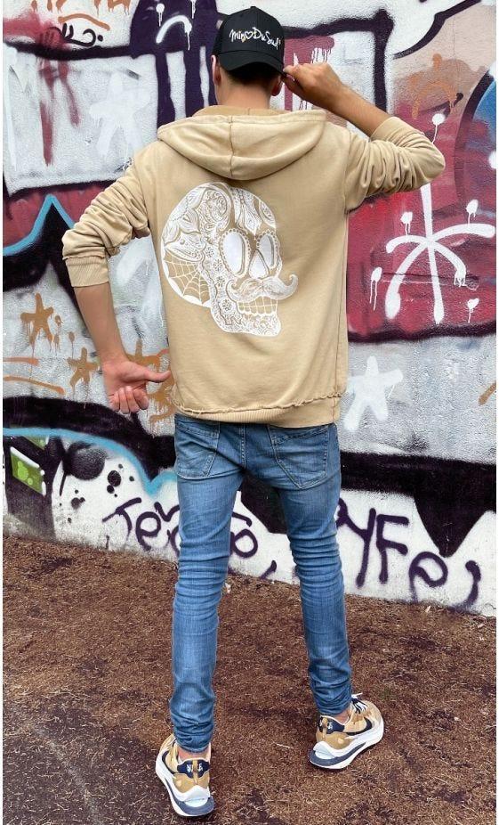 Sweat Lenny Camel Hipster Skull Blanc