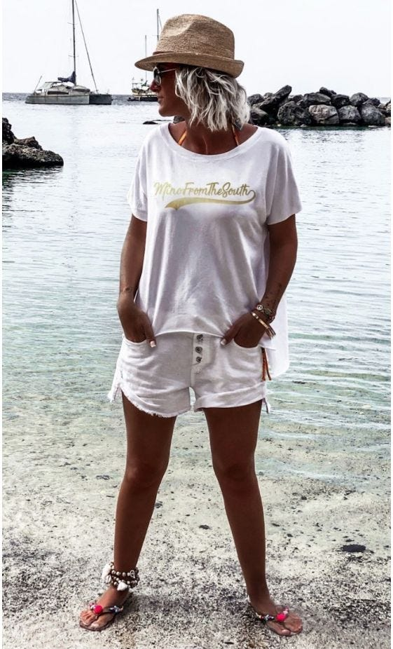 T-Shirt Oli Sweat Fin Blanc MinoFromTheSouth Or