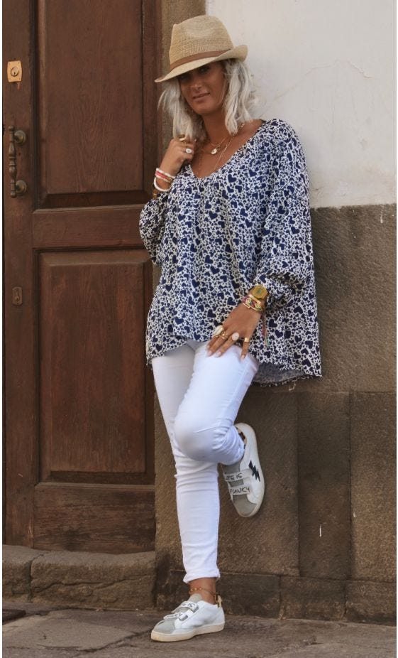Tunique Nina Blanc Cassé Cuori Bleu Marine