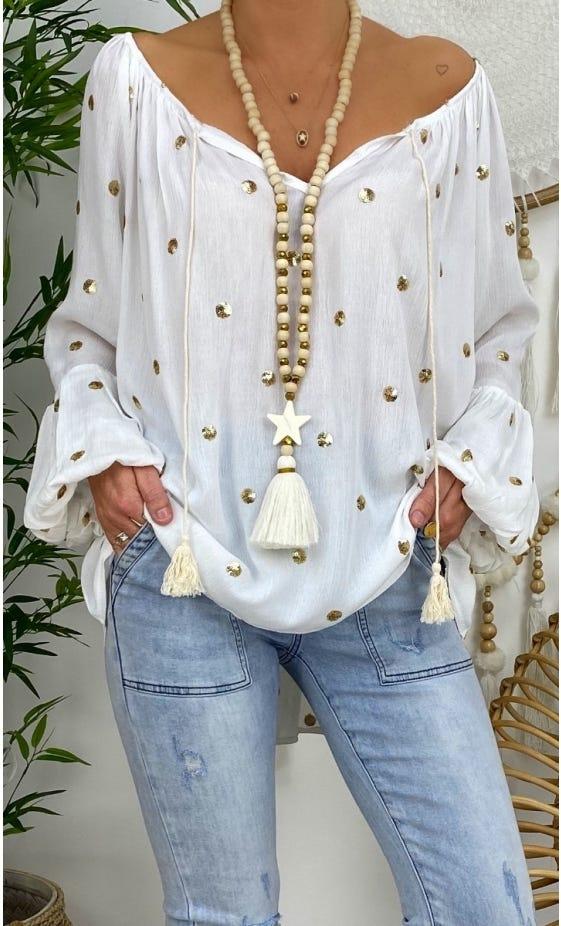 Tunique Lana Blanc Cassé Pois Sequin Or
