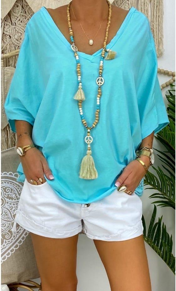 T-Shirt Farah Oversize Ultra-Light Vert Turquoise