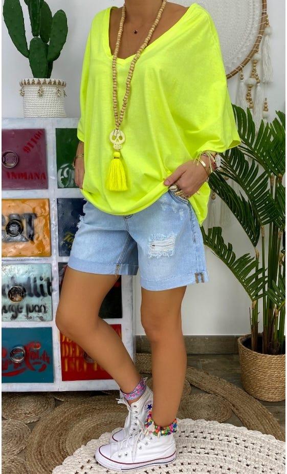 T-Shirt Farah Oversize Ultra-Light Jaune Fluo