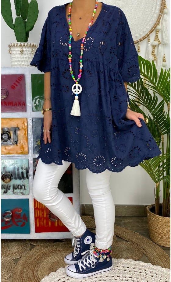 Tunique Vanya Oversize Broderie Bleu Marine