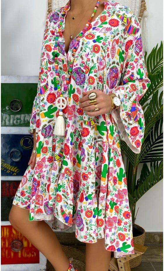 Petite Robe Yanna Blanc Mexico Multicolor