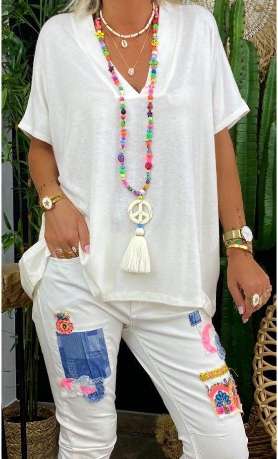 T-Shirt Paolo MC Oversize Maille Doudou Blanc Cassé