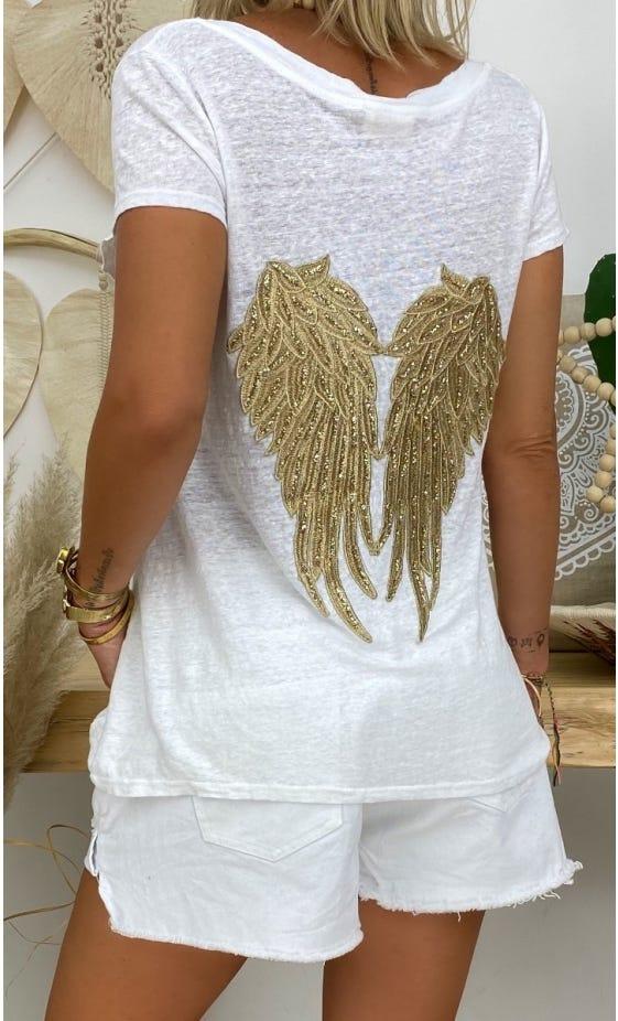 T-Shirt Elio MC Lin Blanc Glitter Dream Or