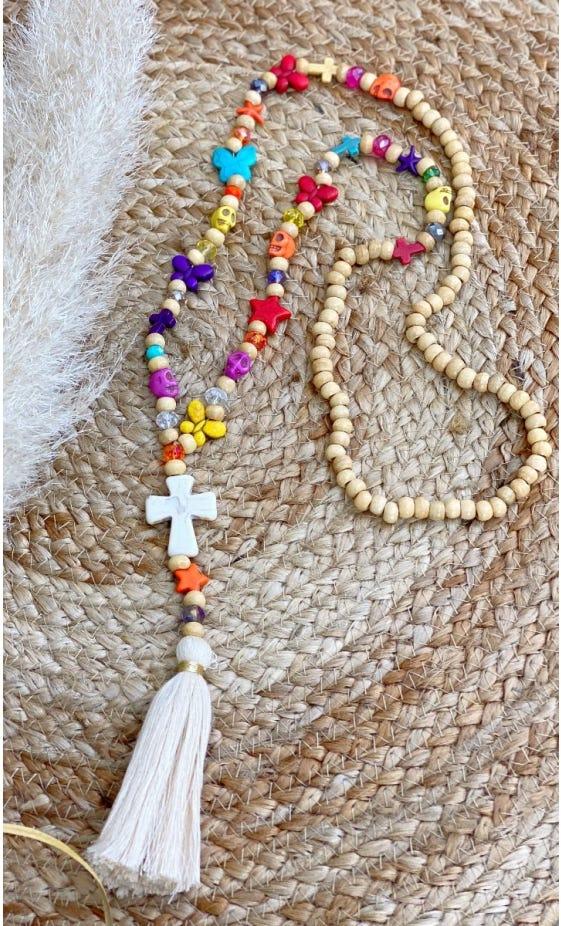 Sautoir Lamon Multicolor Pompon Beige