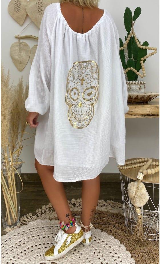 Petite Robe Darcy Voile De Coton Blanc Skull Or