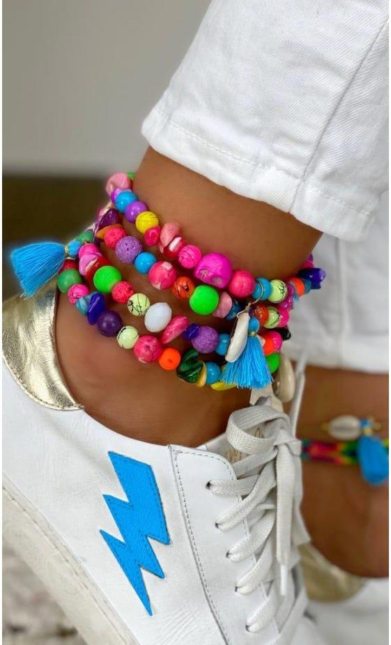 Bracelet De Cheville Magik Candy Skull Pompon Bleu Turquoise