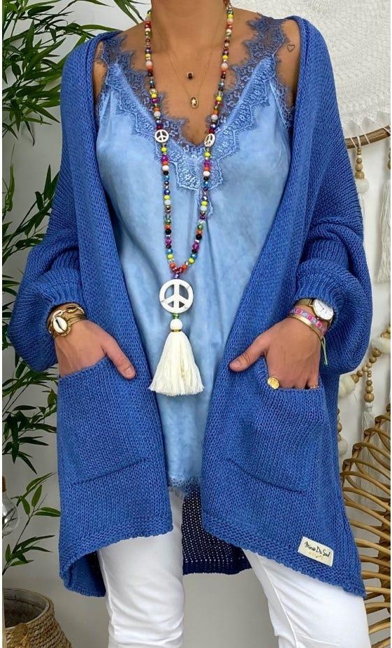 Gilet Paul Petite Maille Bleu Jean